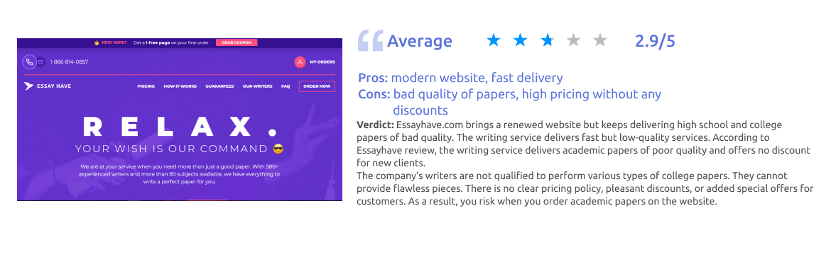 Essayhave.com Writing Service Review [Score: 2.9/5]